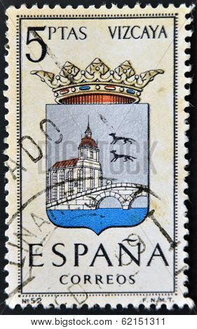 A stamp printed in Spain dedicated to Arms of Provincial Capitals shows Biscay