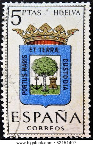 A stamp printed in Spain dedicated to Arms of Provincial Capitals shows Huelva
