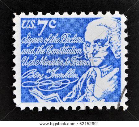 A stamp printed in USA shows Benjamin Franklin
