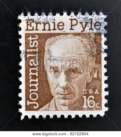 a stamp printed in USA shows Ernest Taylor Pyle journalist