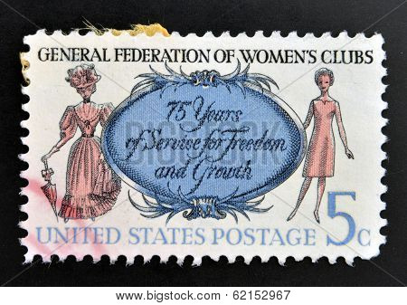 stamp shows Women of 1890 and 1966 General Federation of Womens Clubs