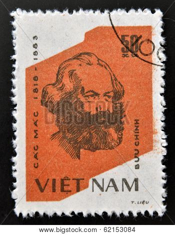 A Stamp printed in the Vietnam shows Karl Marx