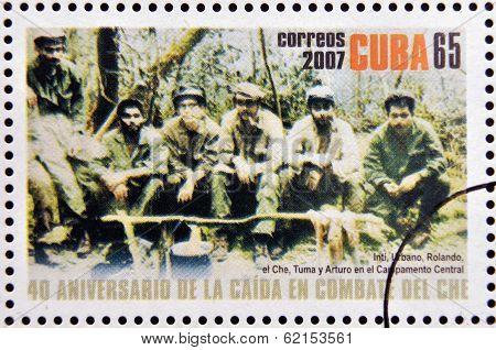 stamp shows Inti Urbano Rolando el Che Tuma y Arturo in the Sierra Maestra