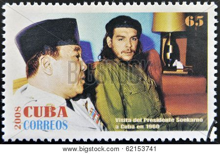 Stamp printed in cuba shows President Sukarno of Indonesia and Ernesto Che Guevara