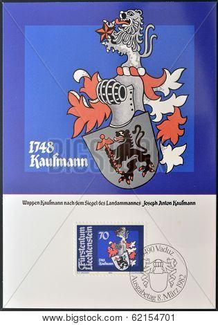 A stamp printed in Liechtenstein shows Arms of Joseph Anton Kaufmann