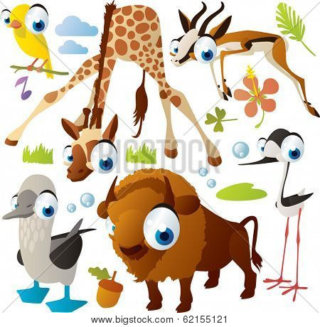 Vector animal set: canary, giraffe, gazelle, booby, bison, tilt
