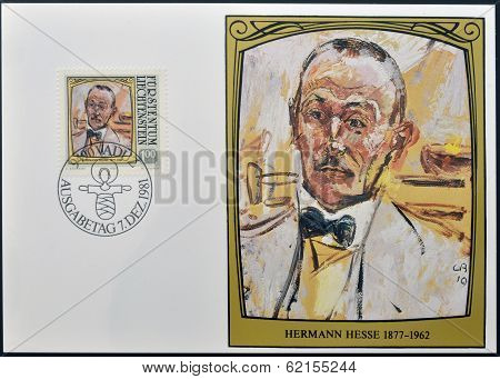 stamp dedicated to portraits of famous visitors to Liechtenstein shows Hermann Hesse