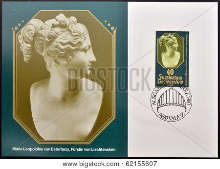 stamp shows Maria Leopoldine Esterhazy Princess of Liechtenstein
