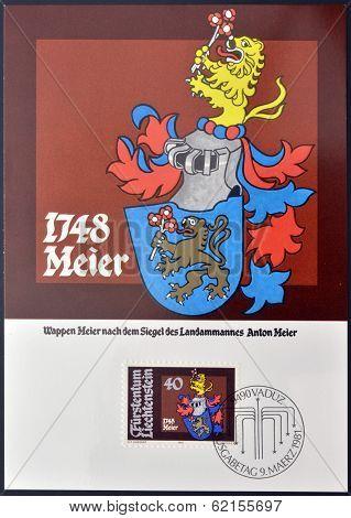 A stamp printed in Liechtenstein shows Arms of Anton Meier