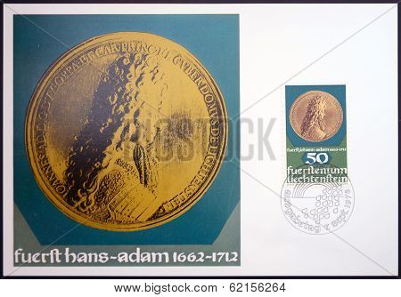 stamp dedicated to coin and medals shows Prince Johann Adam of Liechtenstein