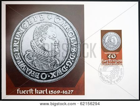 stamp dedicated to coin and medals shows Prince Karl of Liechtenstein