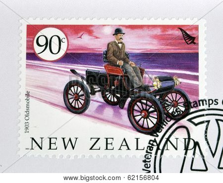 stamp printed in New Zealand dedicated to old cars shows 1903 Oldsmobile