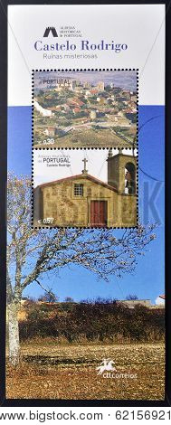 stamp dedicated to the historic villages of Portugal shows Castelo Rodrigo mysterious ruins