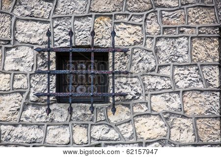 Stone Wall Texture With Old Medieval Window
