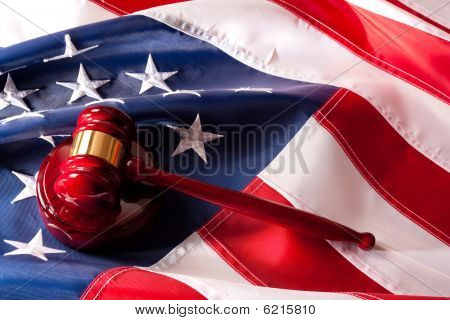 American Flag  And Gavel Legal System Concept.