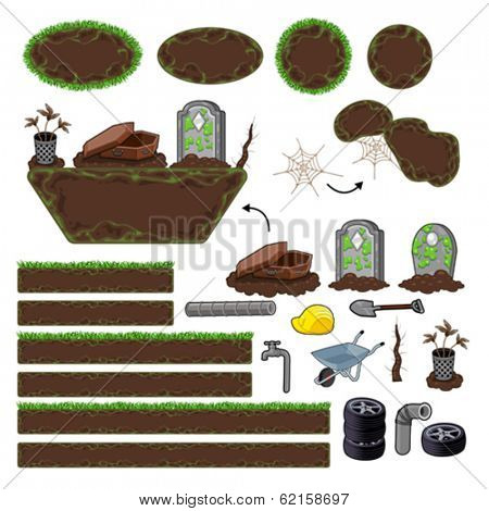 Set of game elements. Platforms and objects. Vector isolated items.