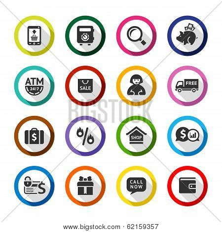 Shopping flat color icons set