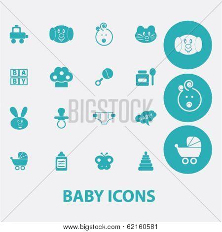 baby, children, toys flat icons set  for digital web, print, design, mobile phone apps, vector