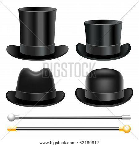 Hats and walking sticks