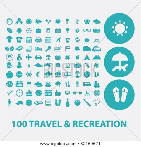 100 travel, recreation, vacation flat icons set  for digital web, print, design, mobile phone apps, vector
