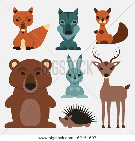 Set of cute wild animals who live in the forest