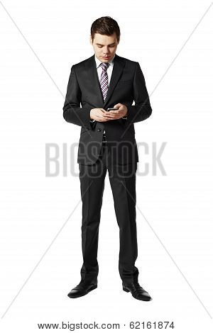 Man Uses A Mobile Phone