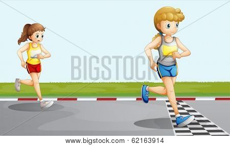 Illustration of the two girls racing