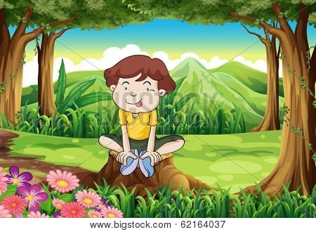 Illustration of a silly young boy above the stump