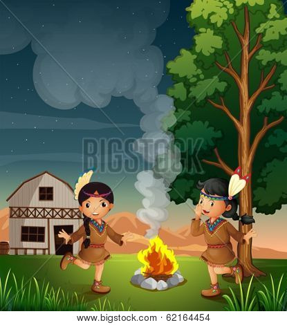 Illustration of the two little Indians with a campfire
