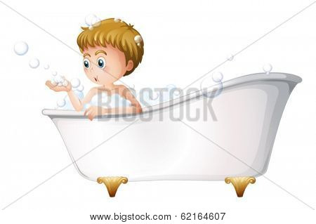 Illustration of a boy playing at the bathtub while taking a bath on a white background