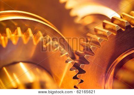 golden gear wheels, close-up