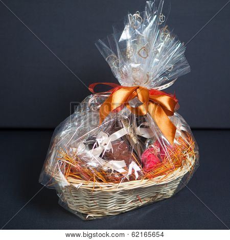 gift basket against grey background