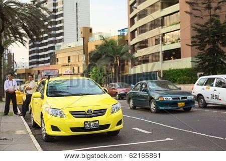 Taxi in Miraflores, Lima, Peru