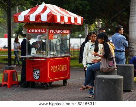 Picarones Stand in Lima, Peru