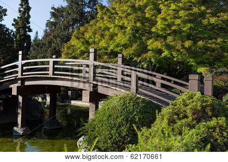 Japanese Lantern And Footbridge
