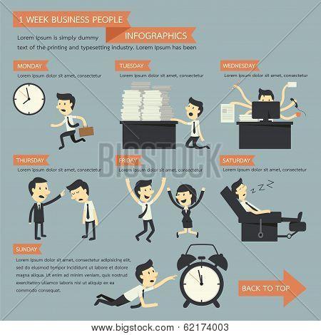 1 Week Business People Infographics