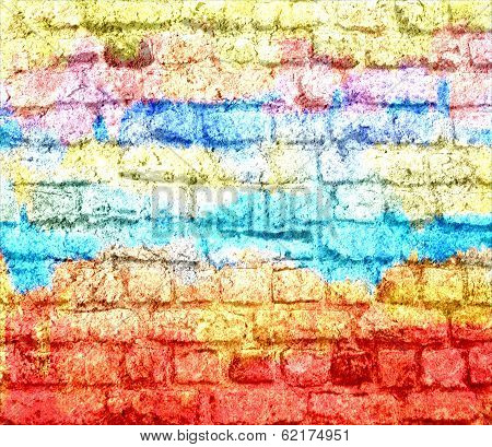 Art graffiti brick wall