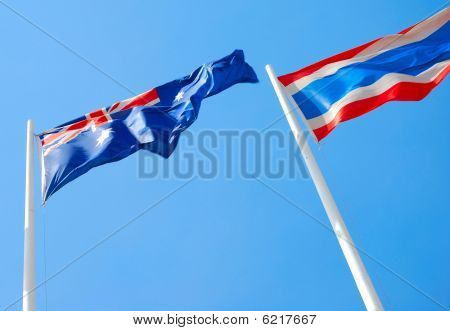 Flags of Australia and Thailand