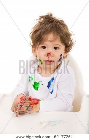 Toddler Boy With Messy Face And Hands