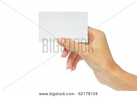 Blank Card In A Hand