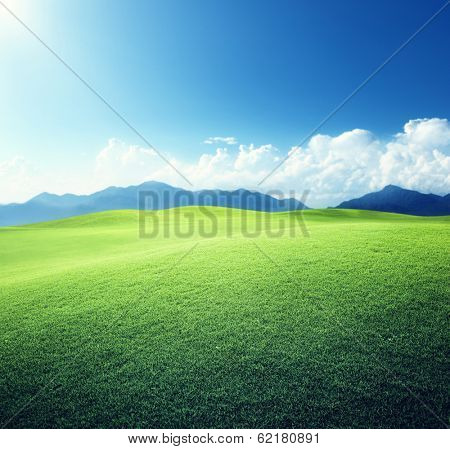 green field and mountains