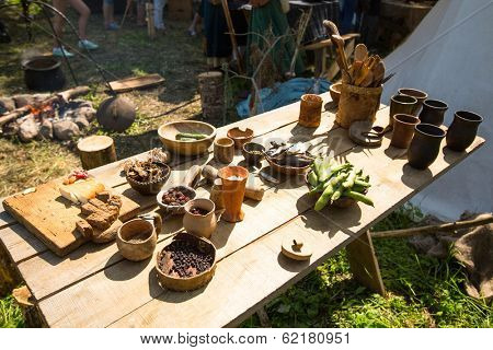 LADOGA, RUSSIA - JULY 13, 2013: During of international historical festival Ladogafest-2013. On 12-14 of July Ladoga festival will bring to life a viking age old harbour.