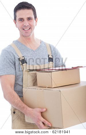 Messenger In Dungarees With A Lot Of Boxes