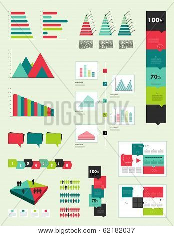 Flat infographic collection of charts, graphs, speech bubbles, schemes, diagrams. Trend color set. R