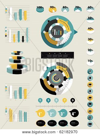 Collection of exclusive business flat infographics elements. Charts, graphs, round, circle diagrams,