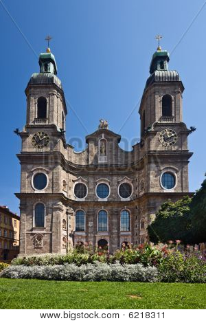 Dom St. Jakob facade, Innsbruck, Tyrol, Austria