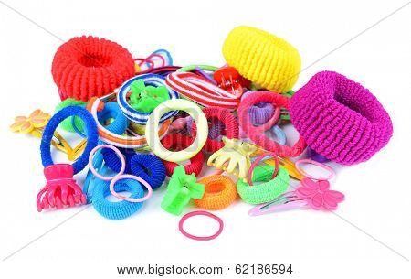 Colorful barrette and Scrunchy isolated on white