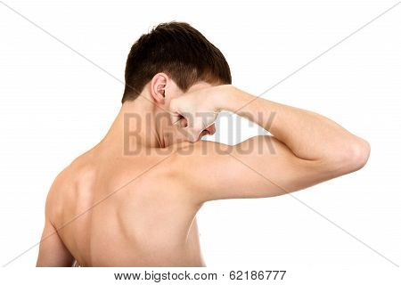 Young Man Muscle Flexing