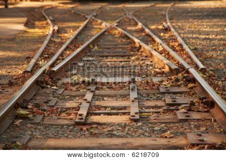 Close Up Railroad Tracks Switch