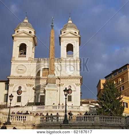 Church Of Trinita Dei Monti (spanish Steps) In Rome, Italy